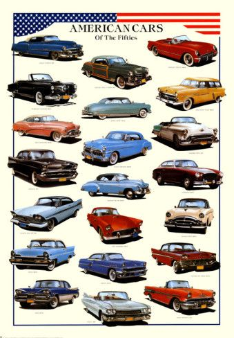 Cars American Cars Of Fifties Poster American Classic Cars