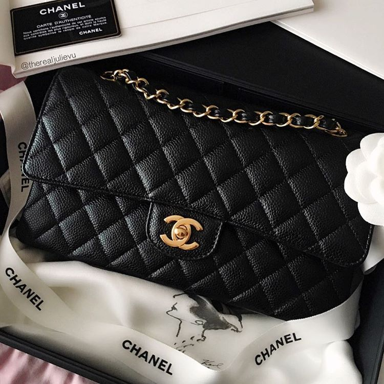 b5611a53945 My new baby. Medium classic flap caviar leather in gold hardware. #Chanel  #Chanelclassicflap #classicflap