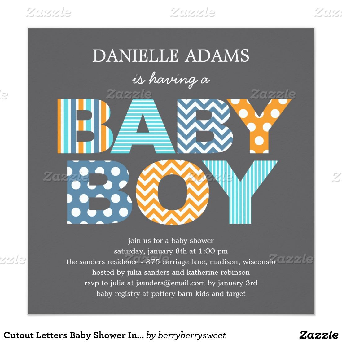 Cutout Letters Baby Shower Invitation  Boy  Shower Invitations