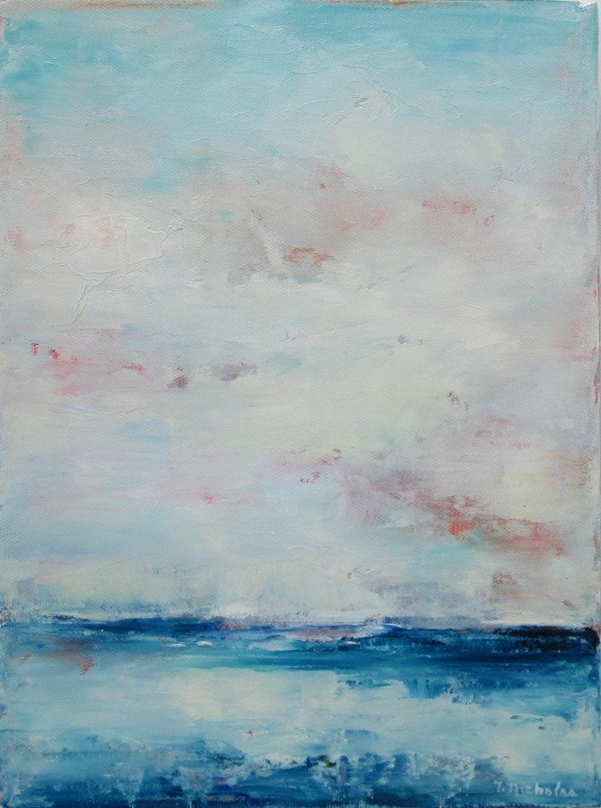 Blue And White Landscape Abstract Landscape Oil Painting Small 9x12 Ocean Sky Clouds Blue And White Original Palette Knife Painting Sky Art Painting Abstract Art Landscape Abstract
