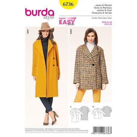 Patron Veste & Manteau Burda n°6736 | Couture | Pinterest
