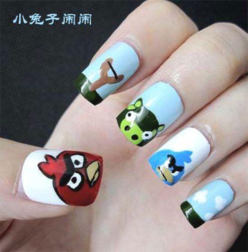 Cute Angry Birds Nail Art Designs & Ideas 2013/ 2014