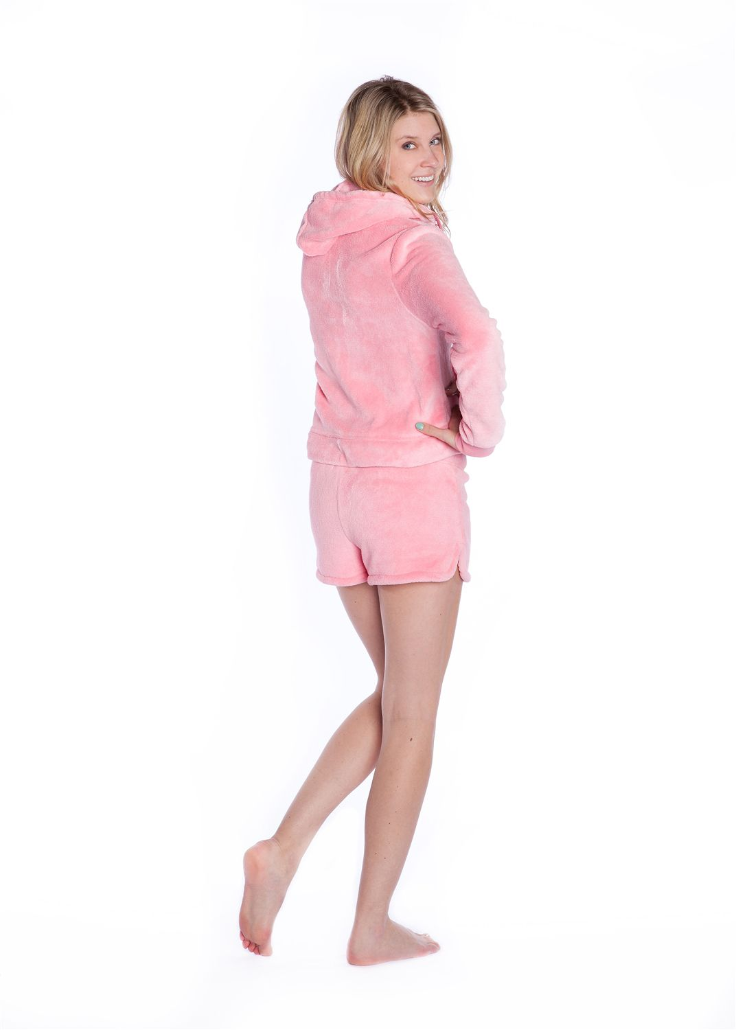 41a497759d58 Plush Hoodie with Shorts Pink