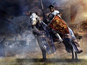 Wallpaper Medieval Knight.  Death cometh riding upon a white horse, you'll know when the time has come