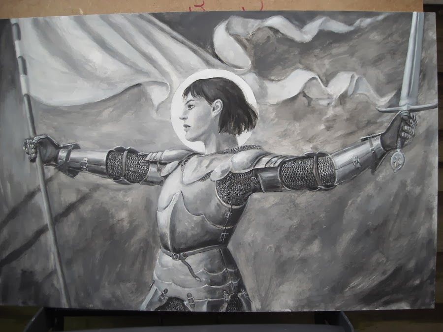 Black and white under-painting for a picture of Joan of Arc. Description  from deviantart.com. I searched for this on bing.co… | Joan of arc, Saint  joan of arc, Joan
