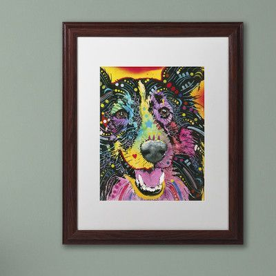 """Trademark Art """"Smiling Collie"""" by Dean Russo Matted Framed Painting Print Size: 14"""" H x 11"""" W x 0.5"""" D"""
