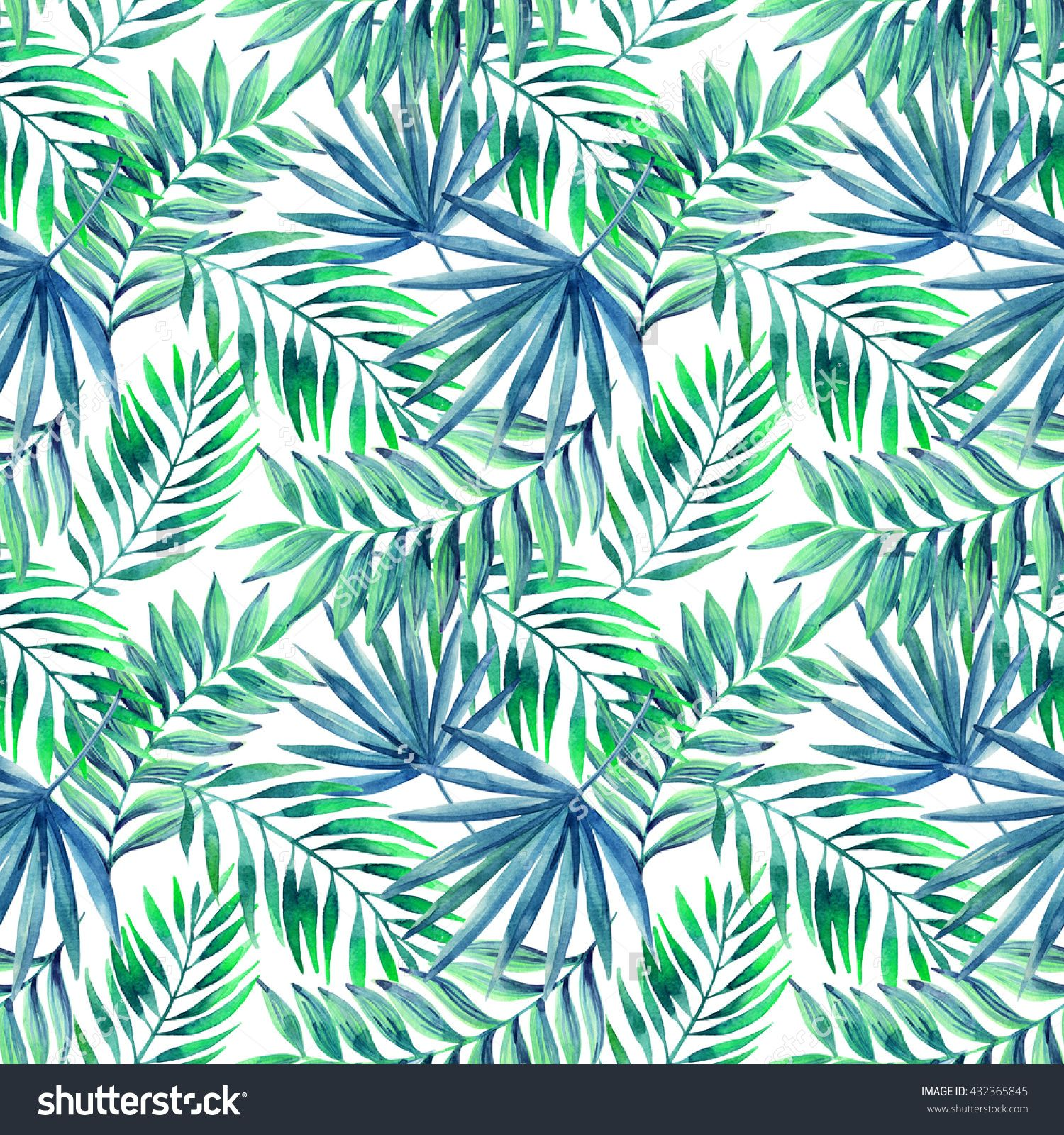Watercolor Tropical Leaves Seamless Pattern. Jungle Leaves