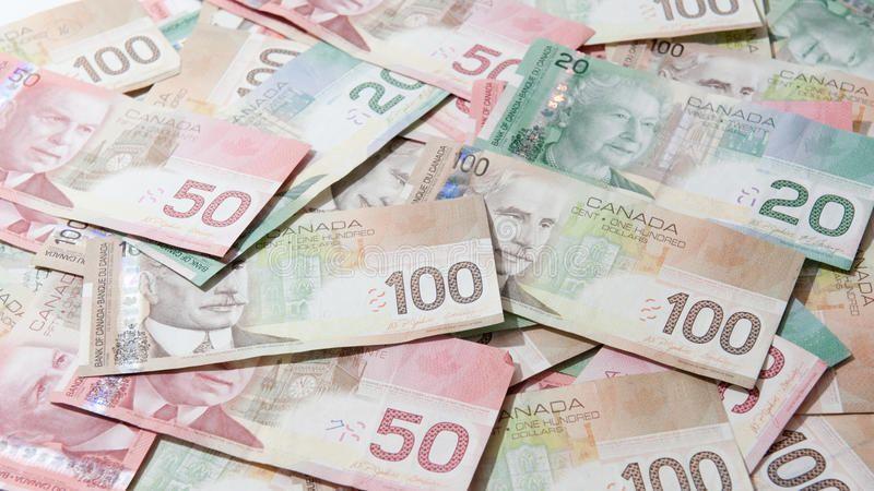 Canadian money tweenties fifties and hundreds in