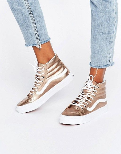 fd9a44ce53b7dc Vans Exclusive Rose Gold Metallic Sk8 Hi Slim Trainers Metallic Vans