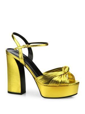 0c3b8764ed0f GUCCI Allie Knotted Metallic Leather Platform Sandals.  gucci  shoes   sandals
