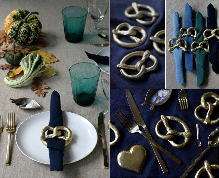 Herbstdeko Selber Machen Tisch Pretzel Serviettenringe Fimo Modelliermasse