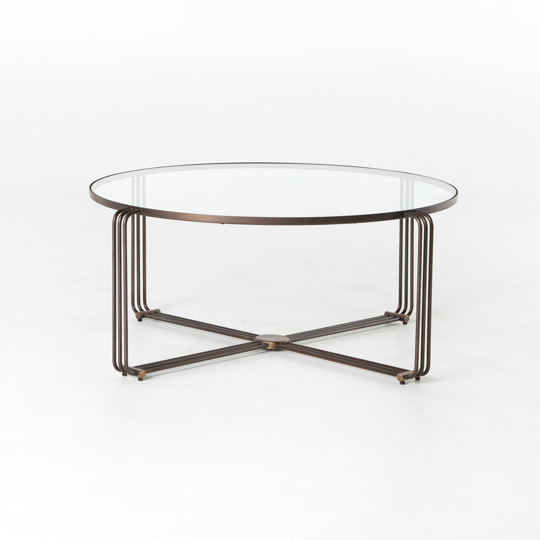 Art Deco Design Adopts A Touch Of Vintage Glamour As Two Toned Brass Meets  Round, Tempered Glass For A Fresh, Subtly Feminine Spin On Slim Coffee Table  ...
