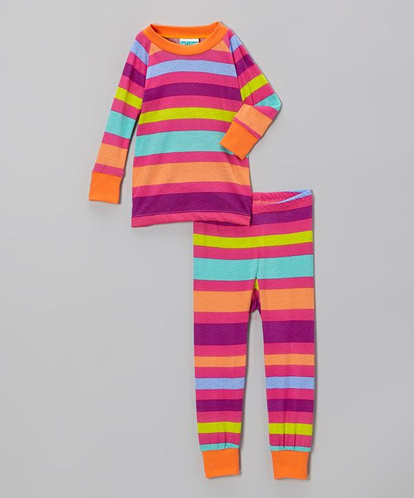 Take a look at this Pink Stripe Pajama Set - Infant, Toddler & Girls on zulily today!