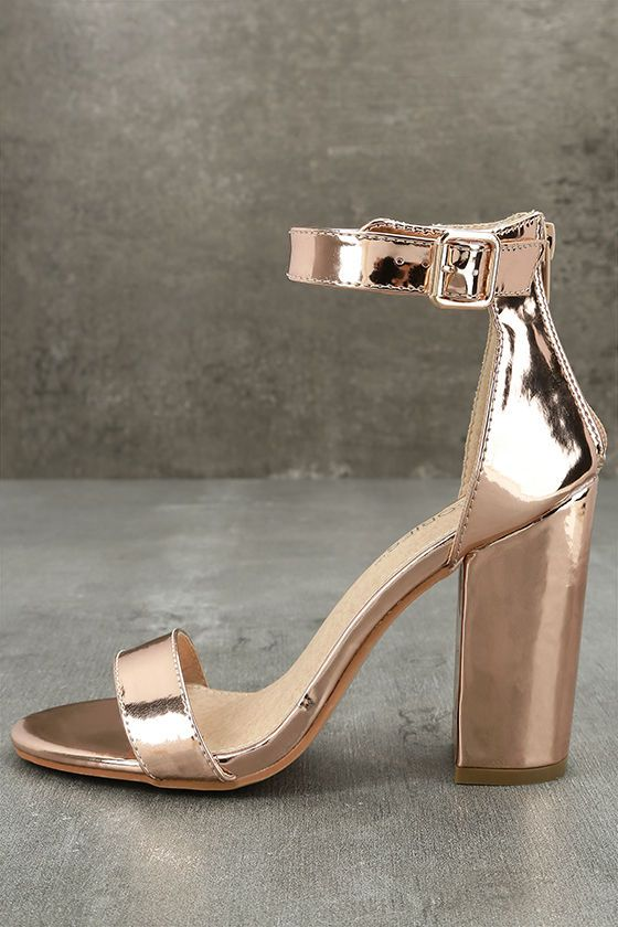 Emalia Rose Gold Patent Ankle Strap Heels