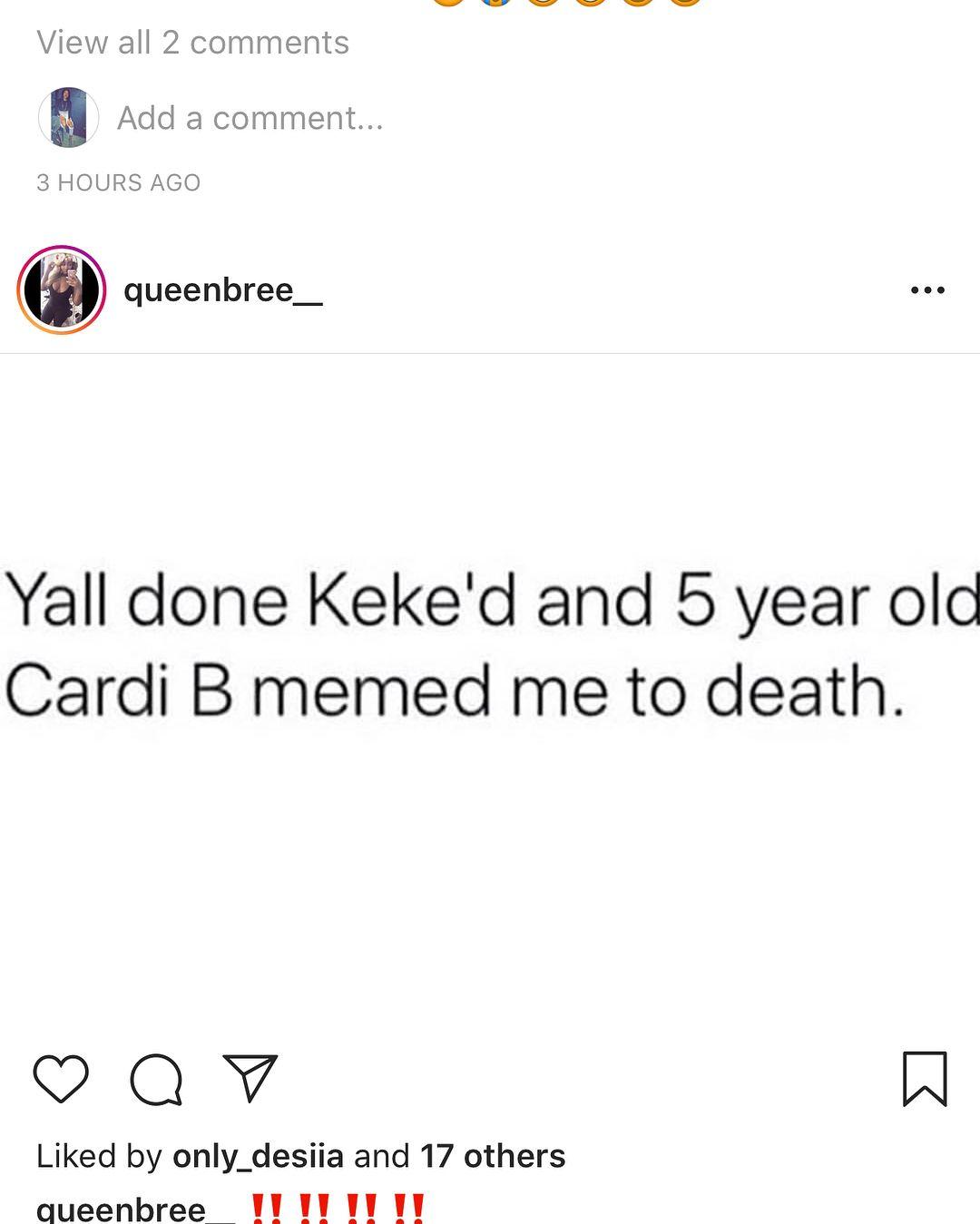 Instagram Play Way Too Much Cardib Cardi B Drake Aubrey Inmyfeelings Theshiggychallenge Mymamasaid Offset Invasio In My Feelings Cardi B Cardi