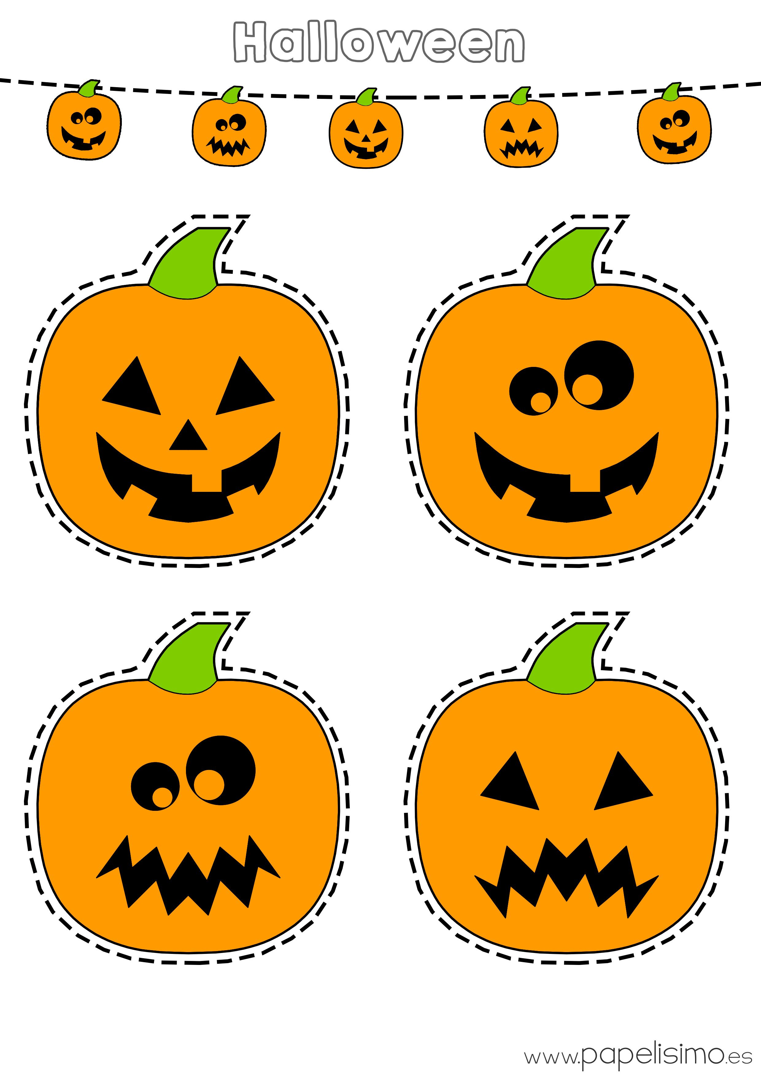 Descarga gratis dos l minas de calabazas de halloween - Decorar calabaza halloween ninos ...