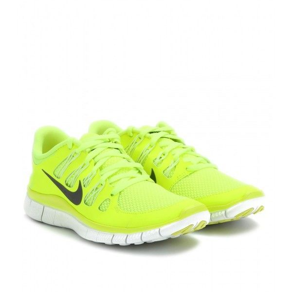 nike neon yellow free run shoes