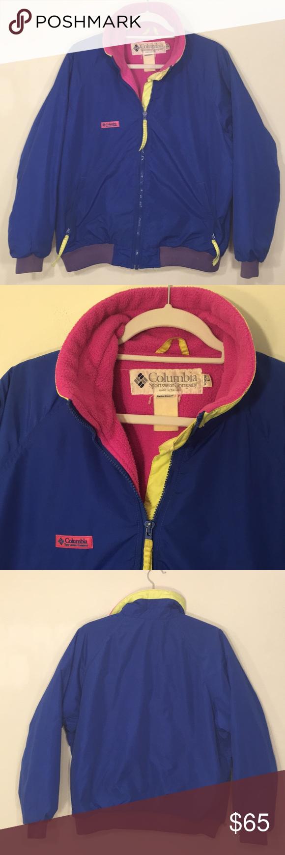 Vintage us columbia neon ski snow jacket l my posh picks