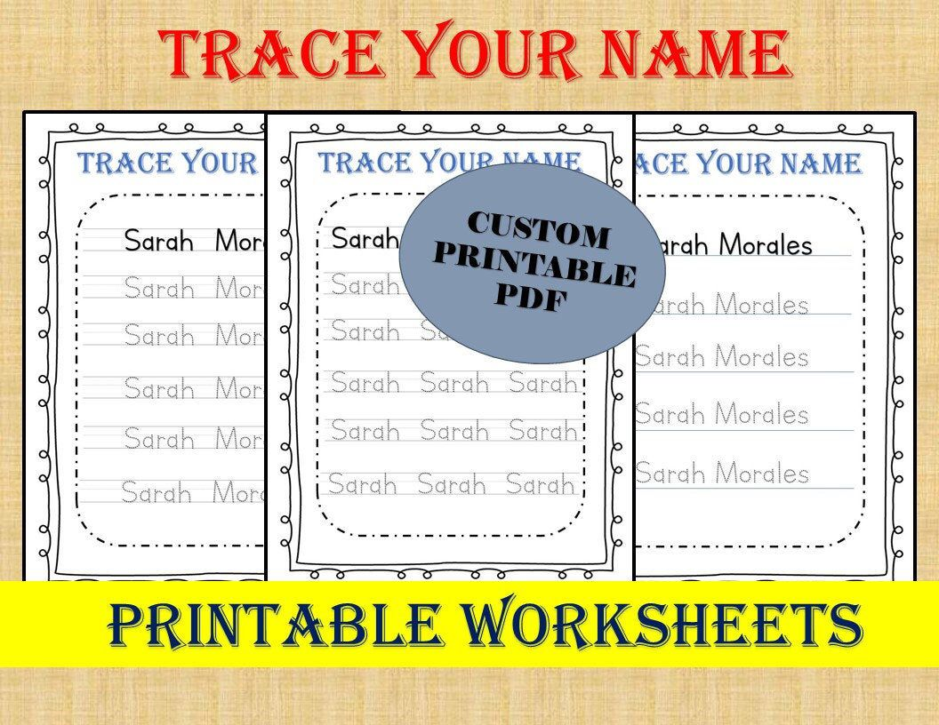 Personalized Trace Your Name Worksheets Custom Name