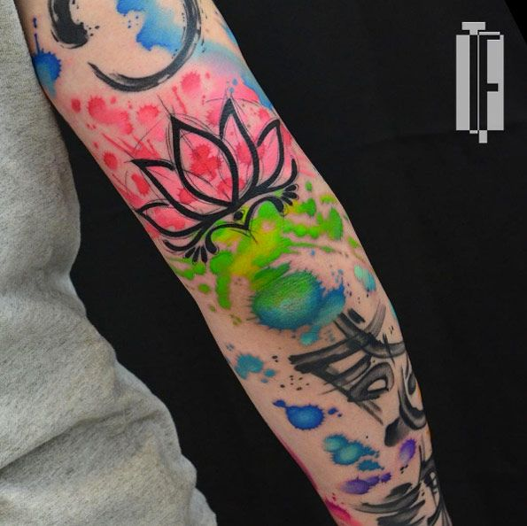 Abstract Watercolor Sleeve By Hami Tattoo Best Sleeve Tattoos