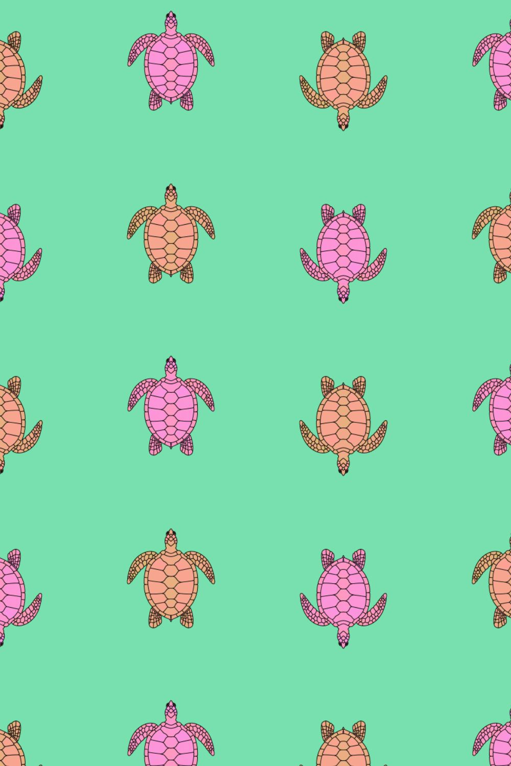minimalist pattern of colorful sea turtles over the sea #digitalillustration #digitalpattern # handdrawnillustration #pattern #patterdesign #printpattern #seamlesspattern #turtles #surfacepatterdesign #surface #animalpattern