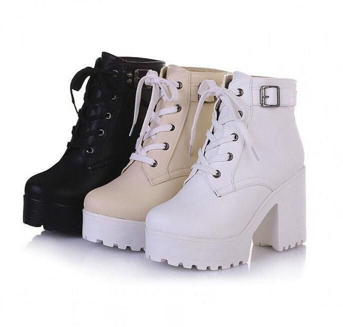 Details about 2016 Womens chunky heel platform lace-up punk goth creeper ankle boots shoes