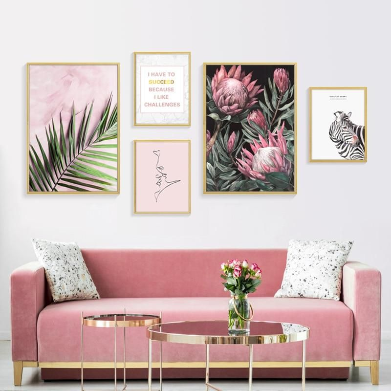 Modern Abstract Pink Sunflower Green Tropical Leaves Positive Affirmations Wall Art Pink Wall Art Rooms Home Decor Decor