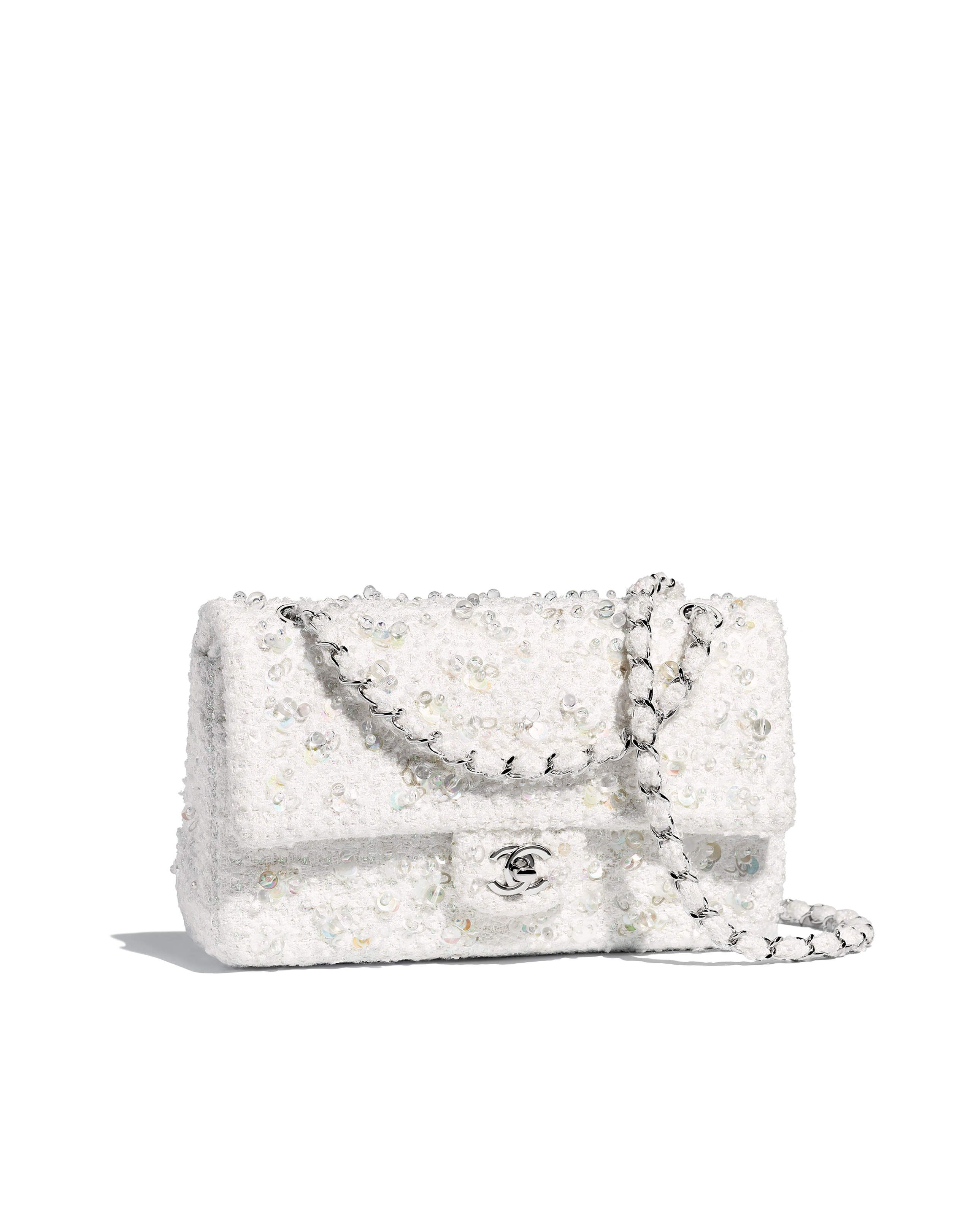 b0cb103c11d6d Bolsa clássica, tweed bordado   metal prateado-branco - CHANEL   Chanel