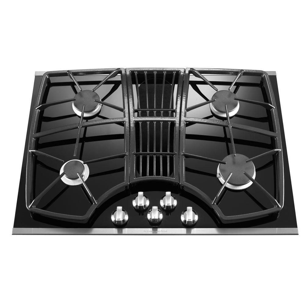 Kitchenaid Architect Series Ii 30 In Gas On Glass Downdraft Cooktop In Stainless Steel With 4 Burners Including Pro Gas Cooktop Kitchen Aid Downdraft Cooktop