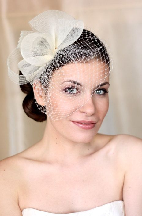 7f1699b75 Wedding Hat, Couture Bridal Hat. Ivory Bridal Hat, Wedding Birdcage Veil,  Wedding Headpiece, Ivory Wedding Fascinator on Etsy, $119.00