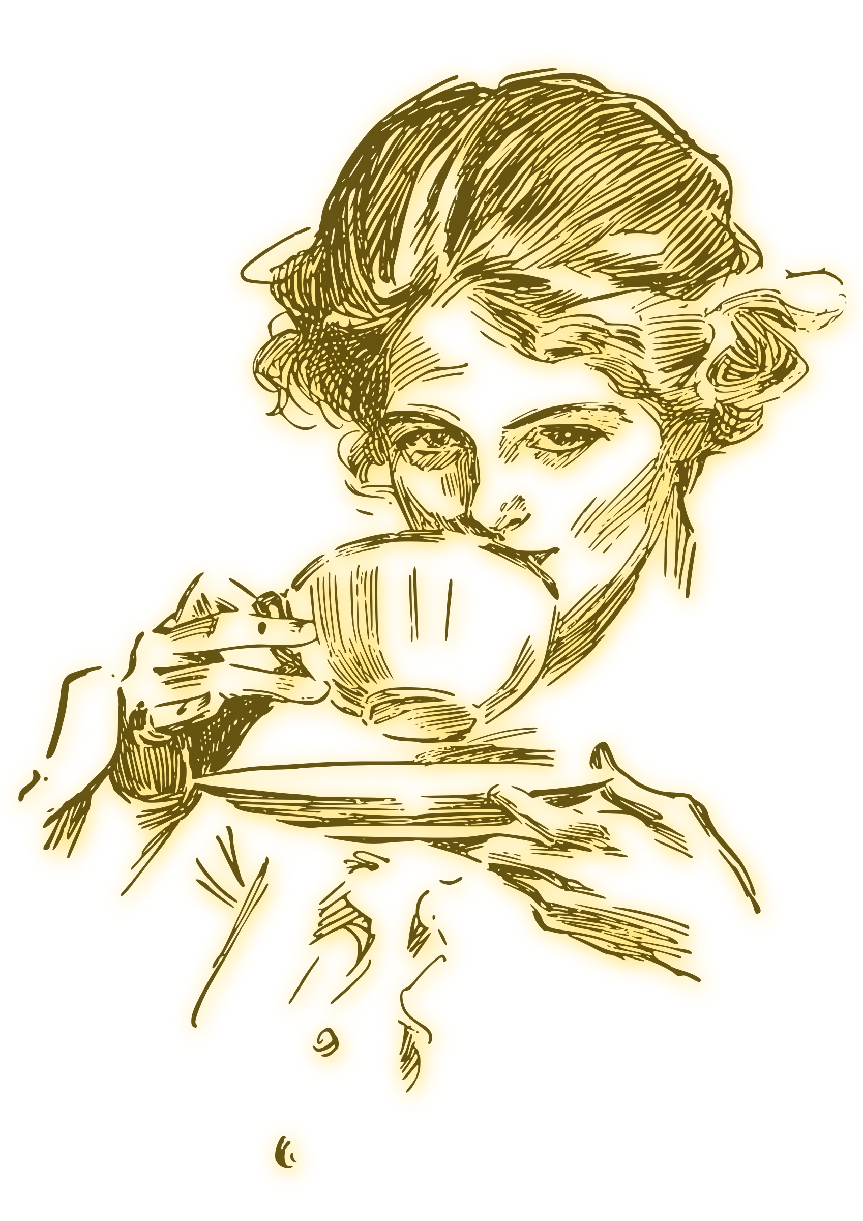 Woman Drinking Coffee Or Tea 04 Blur Clip Art Vintage Tea Cup Drawing Clip Art