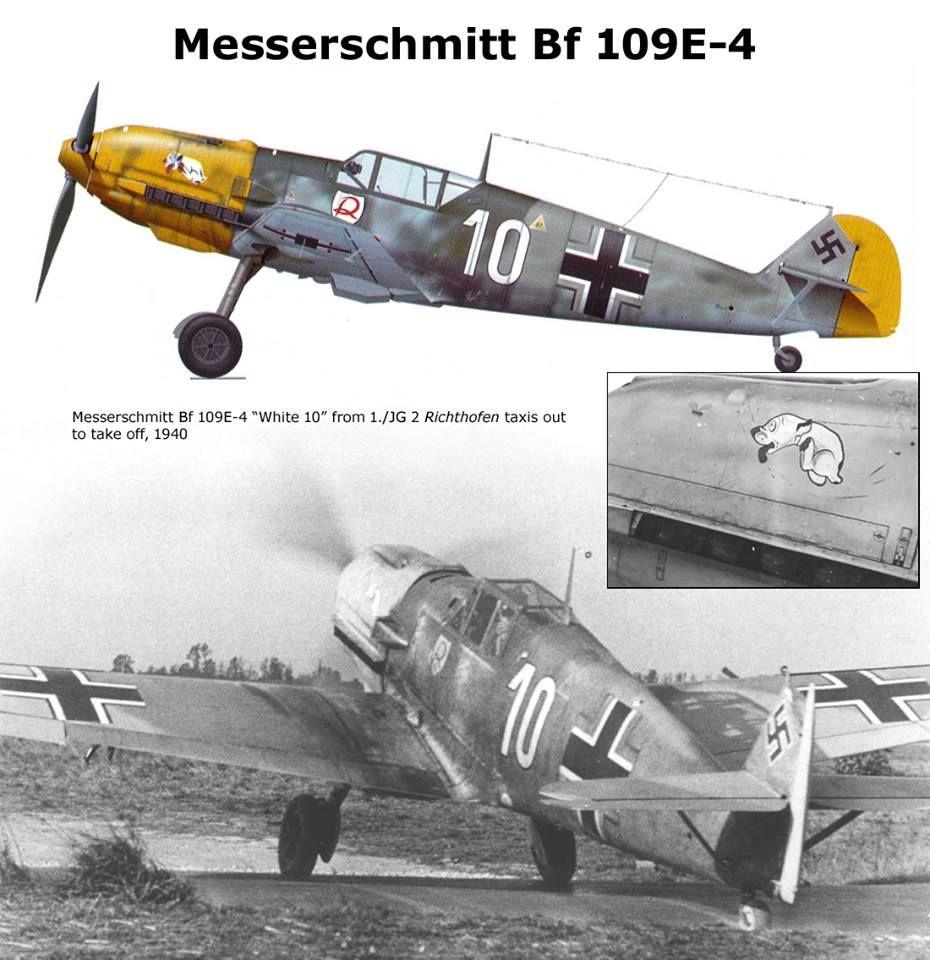 """Messerschmitt Bf 109E-4 I./JG 2 """"white 10"""" 1940"""