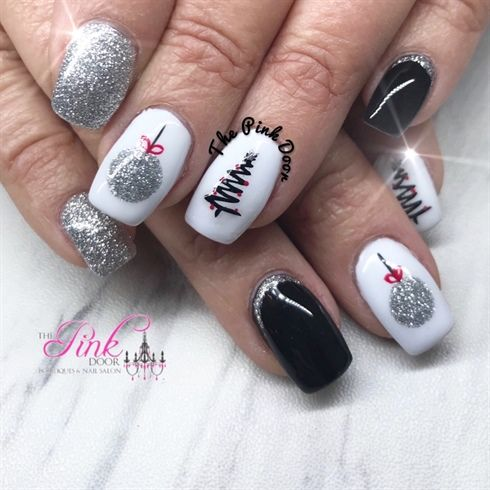 Silver And Black Christmas Nails by NailsByDedee from Nail Art Gallery Hand  painted ornaments with adorable black Christmas Trees - Silver And Black Christmas Nails By NailsByDedee From Nail Art