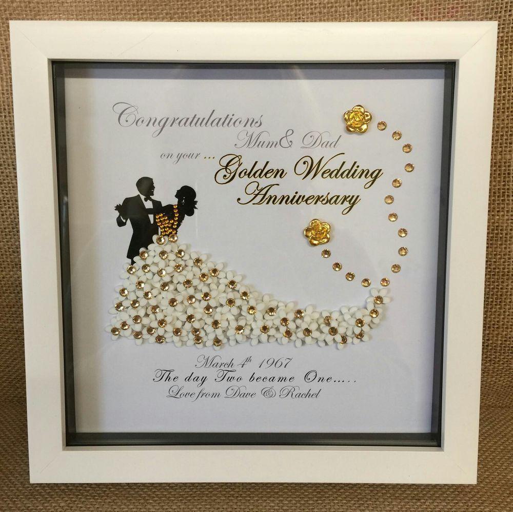Personalised Deep Box Frame Golden Silver Pearl Anniversary Wedding Gift Print Ebay Pearl Anniversary Anniversary Frame Wedding Gifts