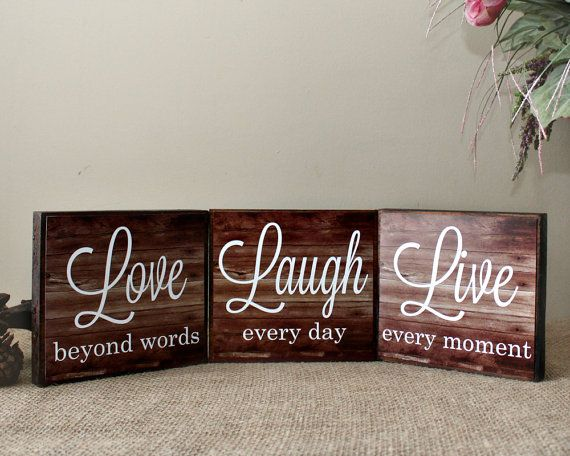 Live Laugh Love Wood Sign   Live Every Moment   Laugh Every Day   Love  Beyond Words   Inspirational Home Decor Blocks   Valentines Day Gift