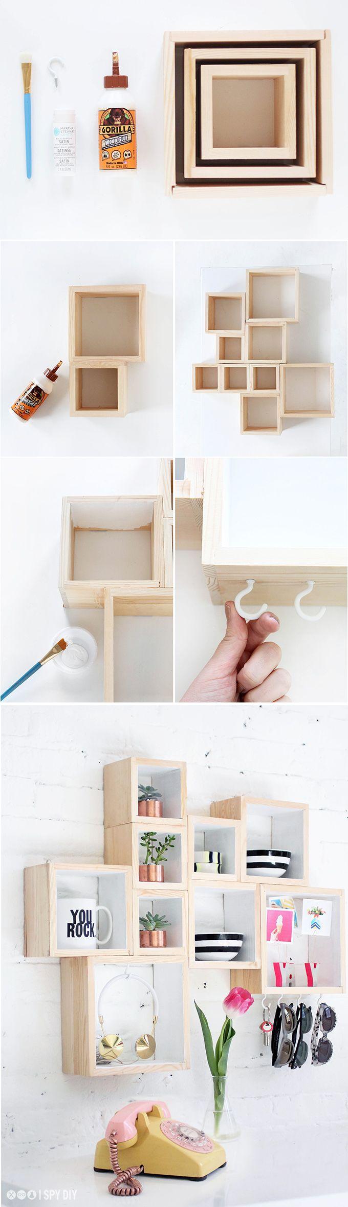 Badezimmer ideen für teenager pequeña estantería con cajas de madera  stylisch einfach und regal