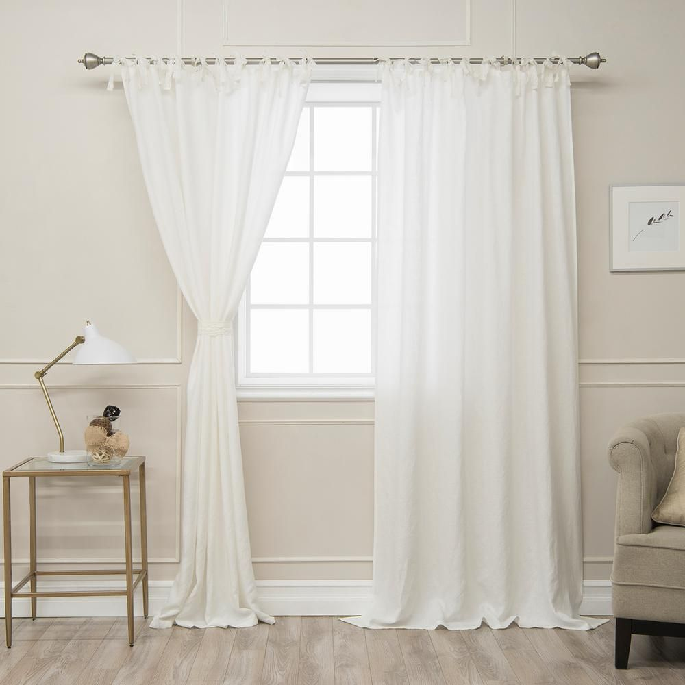 Best Home Fashion Ivory 84 In L Abelia Belgian Flax Linen Lace