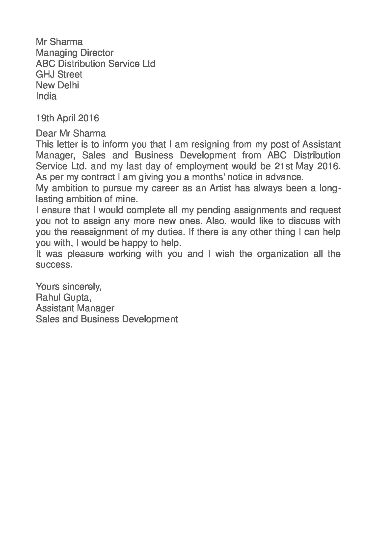 Get Our Example of Sales Assistant Resignation Letter in