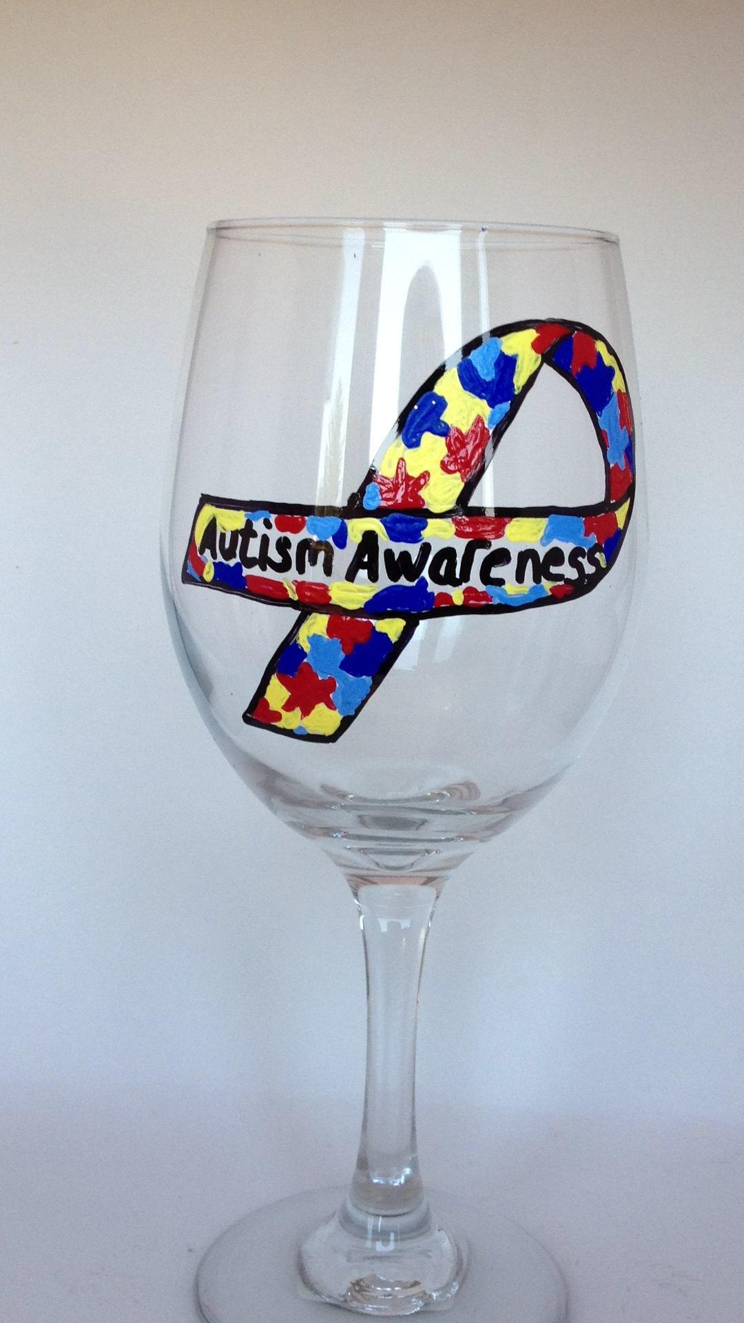 Autism awareness custom wine glass by  www.facebook.com/brusheswithaview