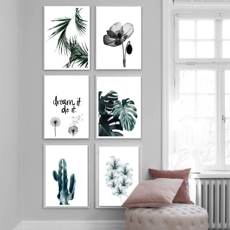Printable 6 Posters Jungle A Imprimer Tableau Deco Salon Decoration Murale Salon Deco