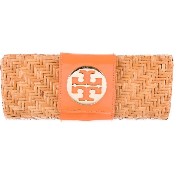 Pre-owned Tory Burch Vivian Rattan Clutch ($100) ❤ liked on Polyvore featuring bags, handbags, clutches, brown, tory burch purse, red clutches, red patent handbag, red patent leather handbag and tory burch