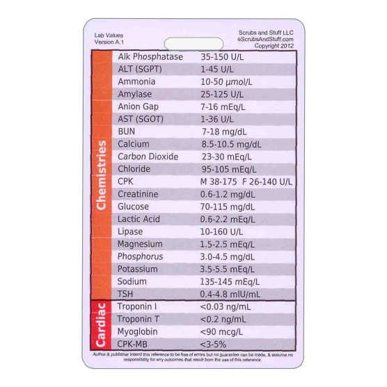 Lab Values Badge Pocket Card Reference Vertical for Nurse - normal lab values chart template