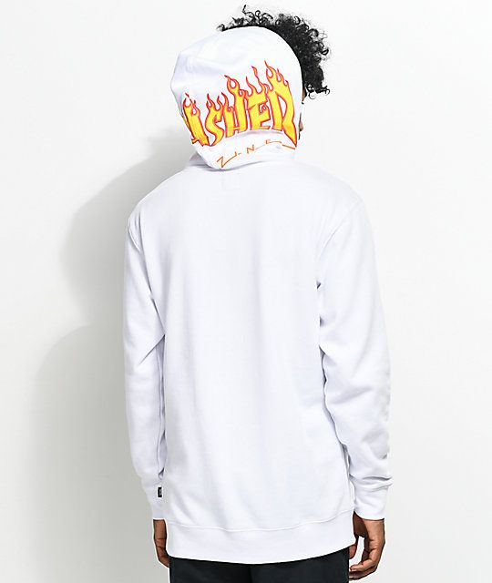 e5cf968e Vans X Thrasher White Hoodie | Vans | White hoodie, Hoodies, Black ...