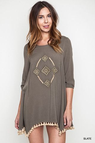 Embroidered Woven High/Low Dress/Tunic