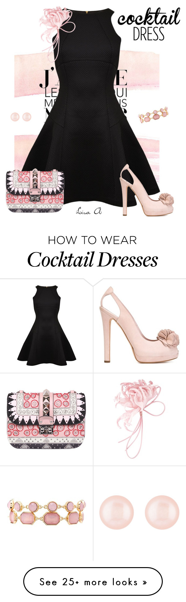 """""""Cocktail Dress"""" by labond on Polyvore featuring Ted Baker, Valentino, P.A.R.O.S.H., Henri Bendel, Charlotte Russe, Alexander McQueen, Pink, black, Pumps and cocktaildress"""