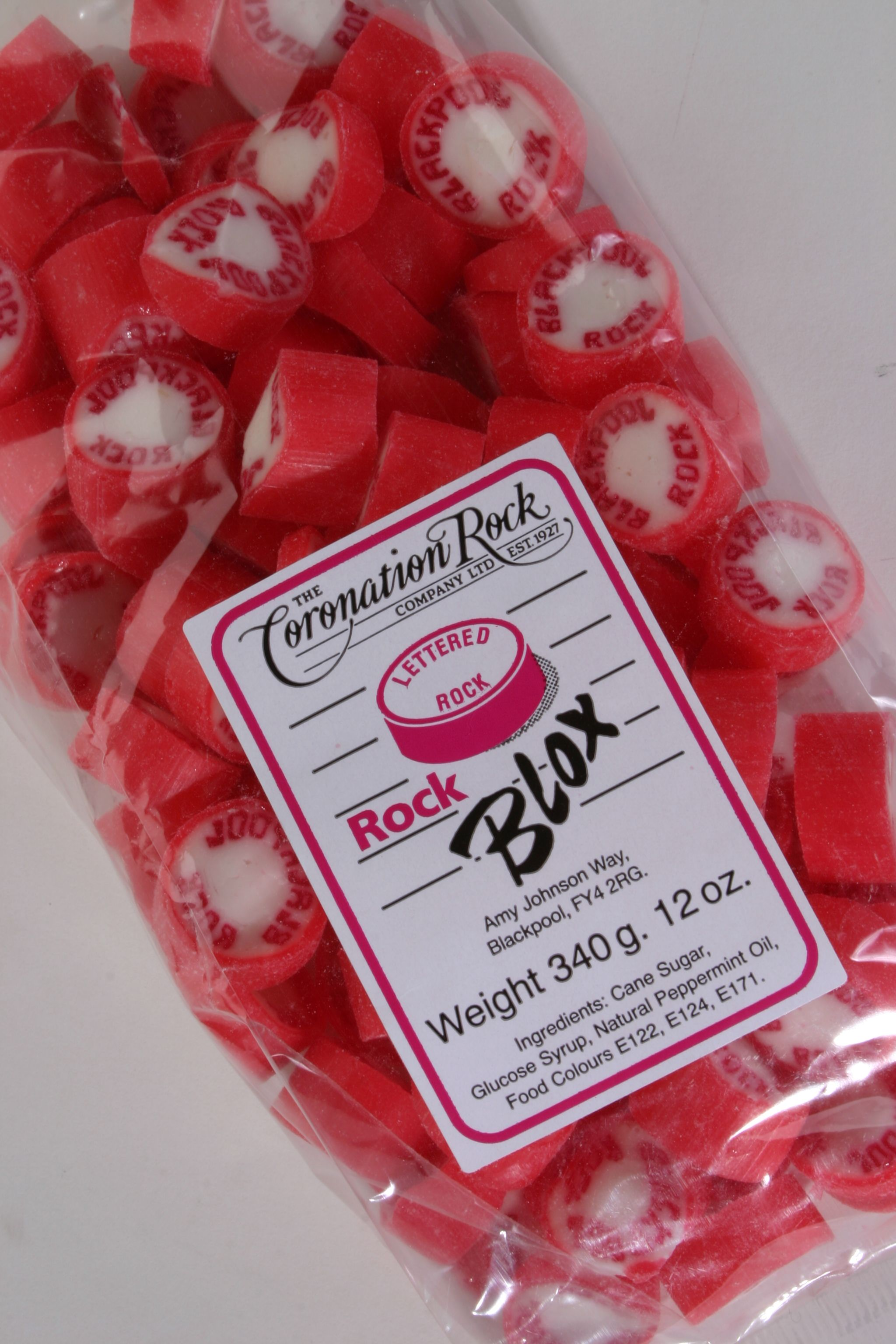 Our Traditional Peppermint Blackpool Rock Blox And Sweets Can All Be Made Sugar