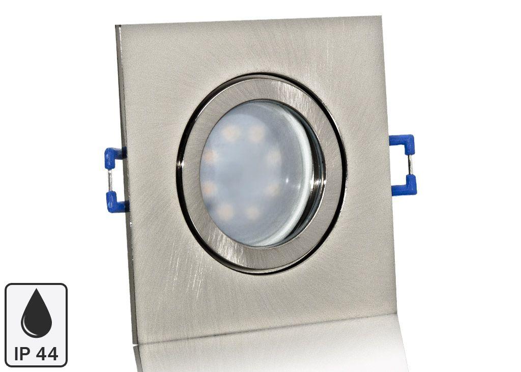 Feuchtraum Led Einbaustrahler Set Ip44 Aluminium Eisengeburstet Eckig Mit Marken Gu10 Led Spot Nextec 5 Watt Milchglas Led Einbaustrahler Led Spots Led