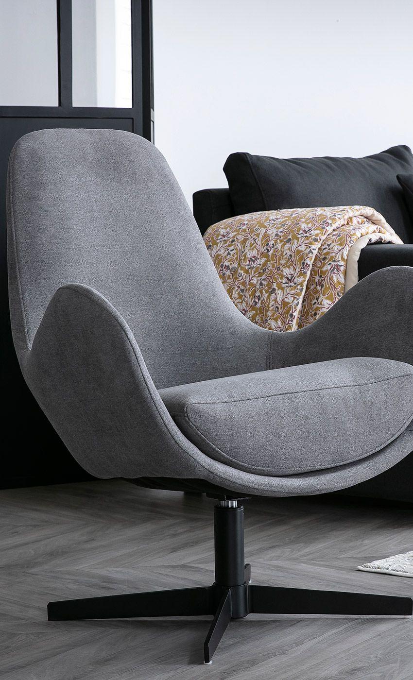 Fauteuil Design Pivotant Tissu Effet Velours Gris Andy Miliboo Stephane Plaza Miliboo Fauteuil Design Miliboo Meuble Design