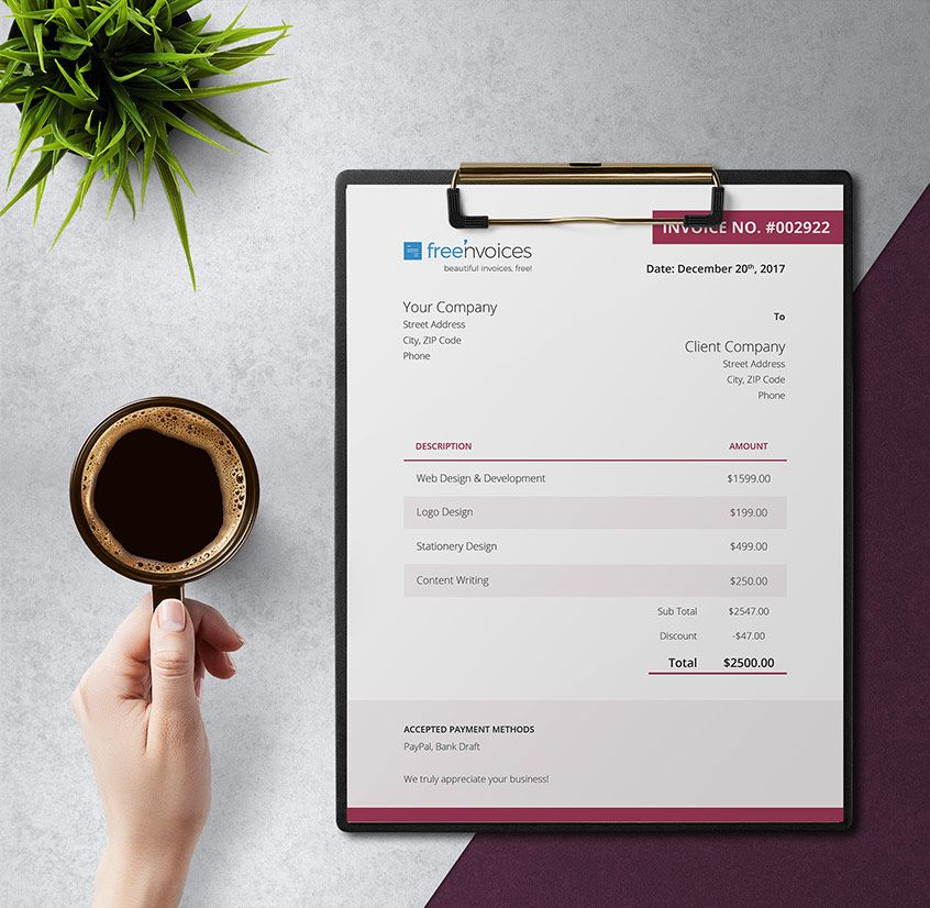 Free Dark Pink Invoice Design with a Cherry Theme - Freenvoices - free invoice design