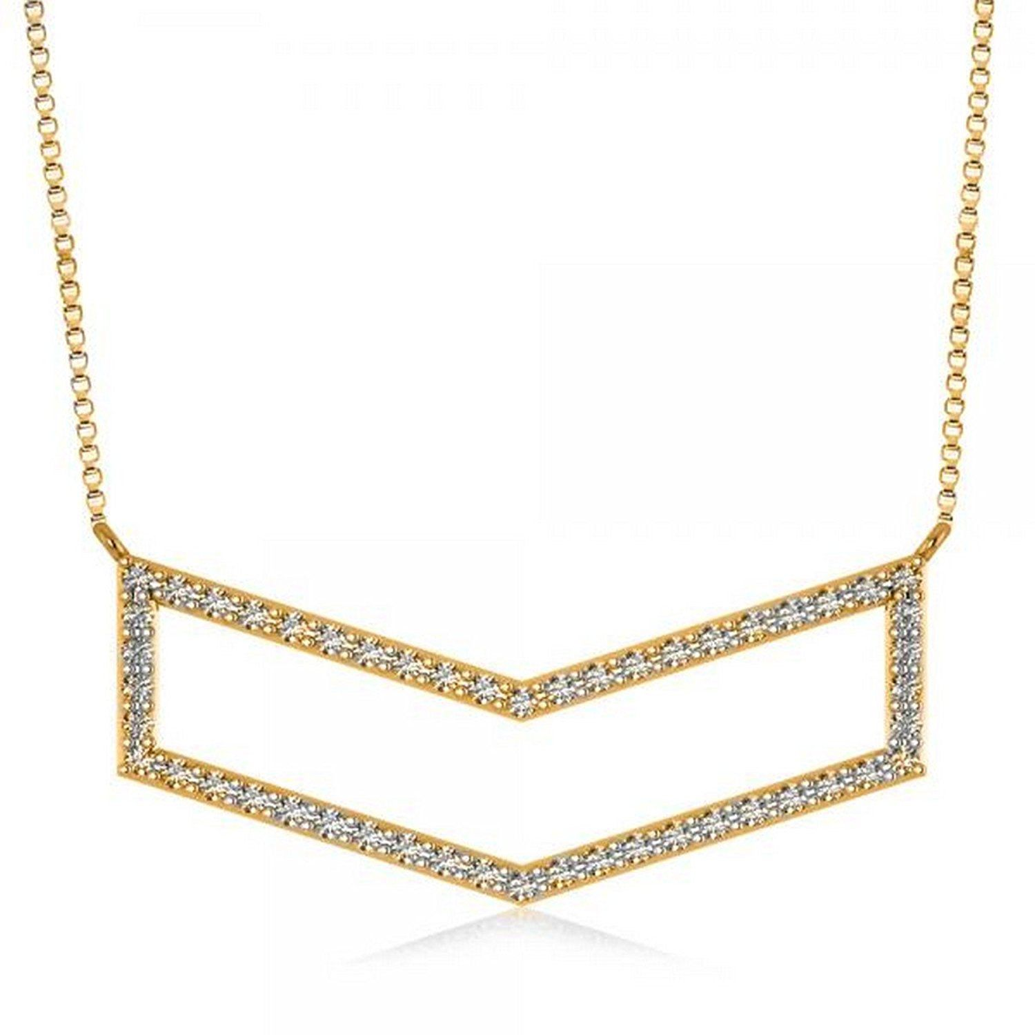 Amazon womenus round diamond chevron bar pendant fashion